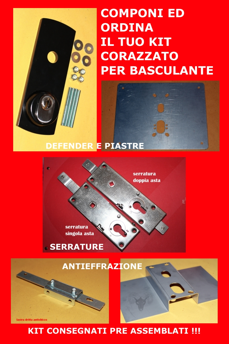 Kit serrature per basculanti spedizione tutta italia for Kit di case di garage